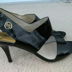 New Michael Kors patent leather heels with gold m